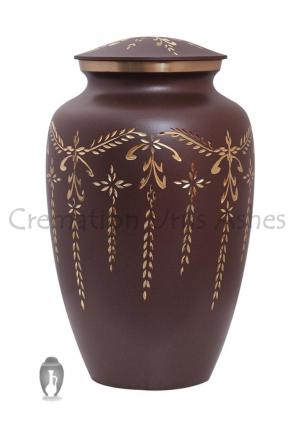 Large Fancy Flourish Brass Funeral Urn for Adult ashes