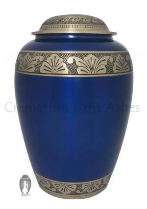 Large Flower Bands Engraved Blue Adult Urn Ashes