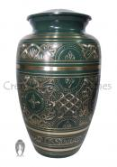 Large Forest Green Golden Detailed Adult Urn Ashes