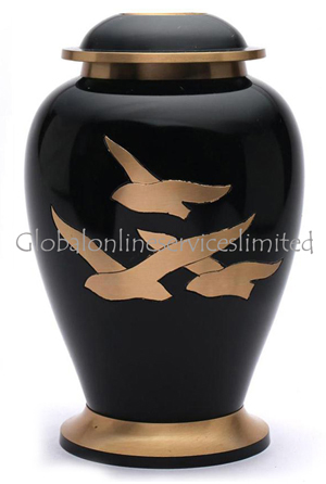 Large Going Home Black Adult Memorial Urn for Human Ashes