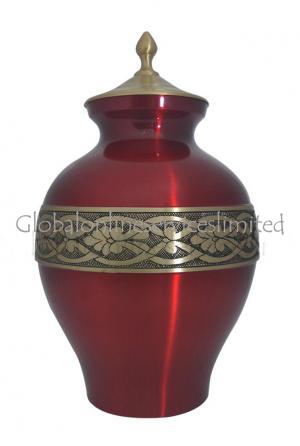 Large Golden Band Engraved Matt Cherry Adult Urn For Ashes