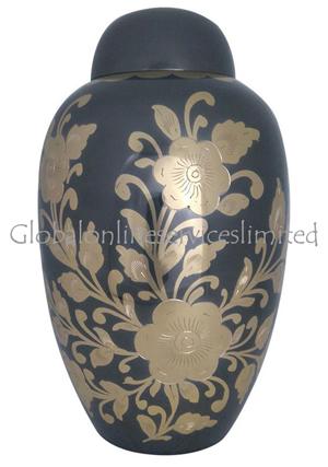 Large Golden Floral Decorative Black Adult Urn Ashes