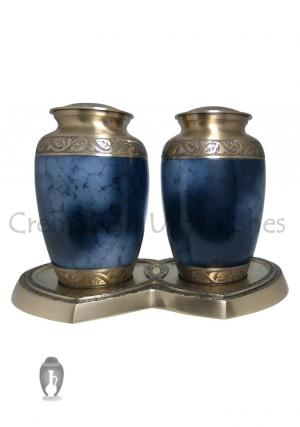 Large Grecian Blue Companion Brass Adult Cremation Urn