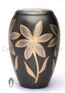 Large Majestic Lilies Flat Top Floral Adult Funeral Urns Ashes for Human