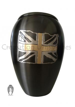 Large Monarch UK Flag Adult Brass Cremation Urn For Ashes UK