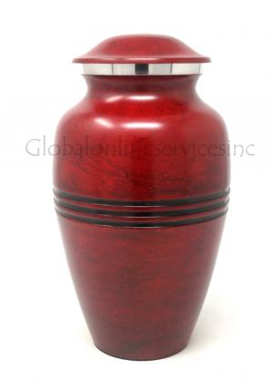 Large Red Aluminium Funeral Ashes Urn for Human Ashes