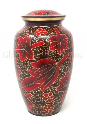 Large Red Flower Petal Urn for Cremation Ashes