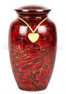 Large Red Flower Petals Cremation Urn for Ashes