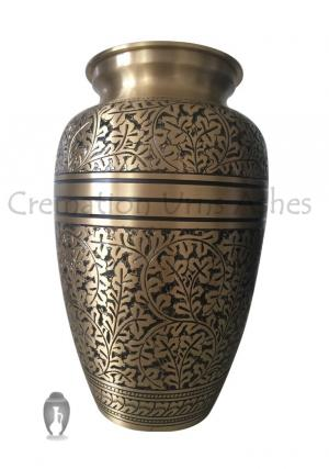 Large Size Antique Engraved Adult Funeral Brass Urn for Human Ashes