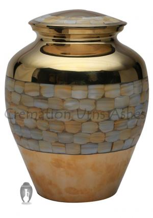 Large Size Elite Mother Of Pearl Adult Memorial Urn For Ashes
