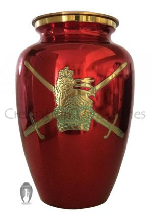 Large UK Military Symbol Red Color Memorlial Adult Urn For Ashes