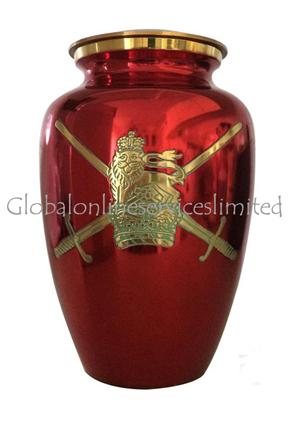 Large UK Military Symbol Red Color Memorlial Adult Urn For Ashes