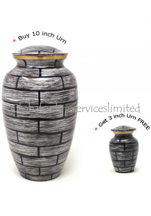 Large Vintage Adult Cremation Brass Urn for Human Ashes+ FREE Brass Vintage  Keepsake Urn (Large)