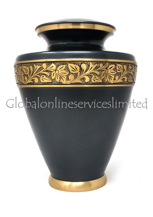 Leaf Band Brass Adult Funeral Urn for Human Ashes