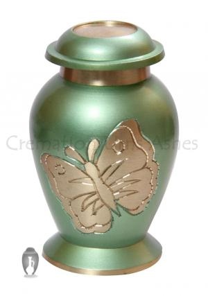 Lite Teal Green Butterfly Small Keepsake Memorial Urn For Cremated Remains