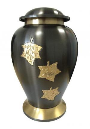 Gold Falling Leaves Big Container for Adult Funeral Urns Ashes