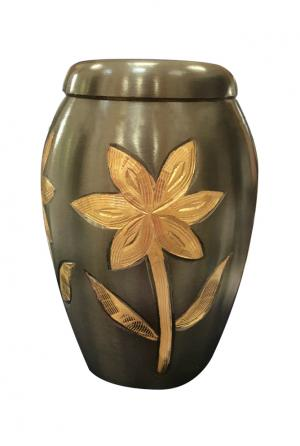 Majestic Lillies Small Funeral Keepsake Urn for Ashes