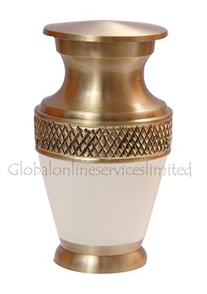 Majestic White Enamel Keepsake Cremation Urn For Cremated Remains