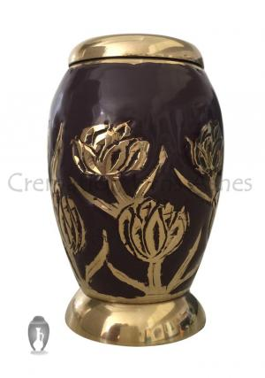 Maroon with Golden Tulips Small Keepsake Urn for Memorial Human Ashes