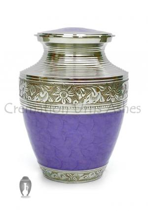 Medium Cremation Urns for Ashes, Hand Painted Purple and Floral Nickel Finish