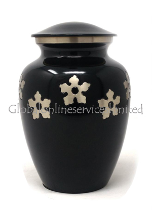 Classic Medium Golden Flower Engraved Black Brass Urn For Human Cremation Ashes. (Medium)