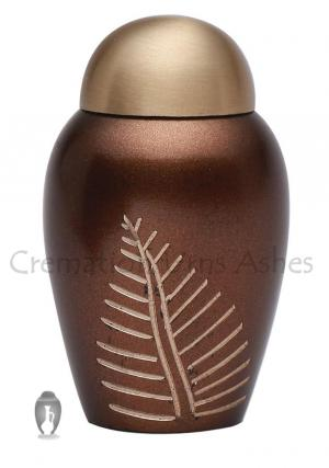 Mini Bronze Leaf Imprint Brass Funeral Keepsake Urn