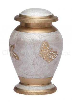 Mini Butterflies Pearl White Keepsake Cremation Urn for Ashes