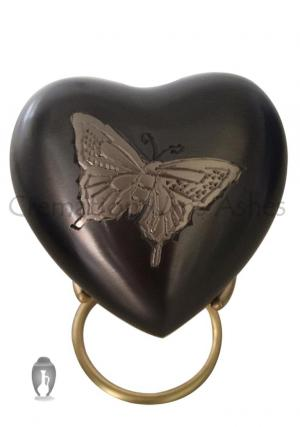 Mini Butterfly Pewter Heart Keepsake Container for Memorial Ashes
