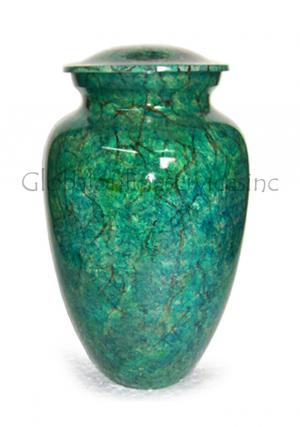 Mini Green Brass Cremation Urn for Keepsake Cremation Ashes.