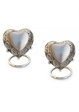 Pack Of Two Small Pewter Leaf Band Heart Keepsake Funeral Urn with Stand For Human Ashes