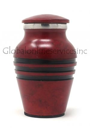 Mini Red Aluminium Funeral Ashes Urn for Human Ashes