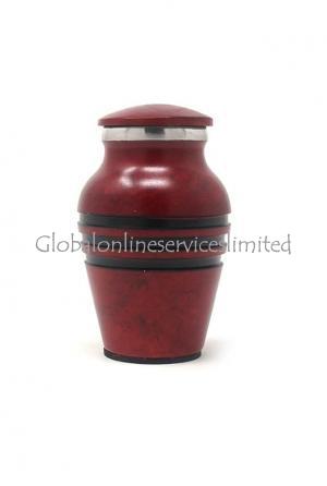 Mini Red Aluminium Urn for Human Ashes (Small)