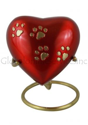 Mini Red Heart Cremation Pet Keepsake Urn For Pet Ashes