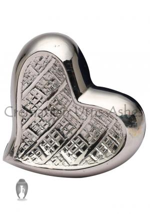 Mini Theale Nickel Heart Keepsake Memorial Urn Ashes