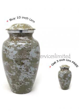 Modern French Aluminium Large Cremation Urn + FREE Modern French Aluminium Keepsake Urn (Large)