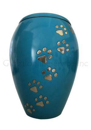 Monarch Blue Climbing Paw Print Pet Cremation Urn For Ashes