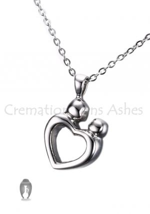 Mother and Child Love Heart Keepsake Urn Pendant for Memorial Ashes