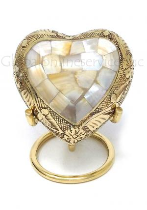 Mother of Pearl Heart Keepsake Memorial Urn for Ashes