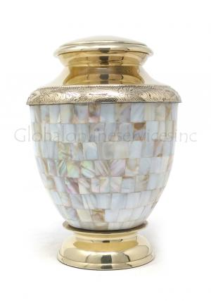 Mother of Pearl Medium Memorial Urn for Cremation Ashes