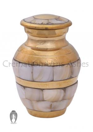 Mother of Pearl Memorial Keepsake Gold mini Urn