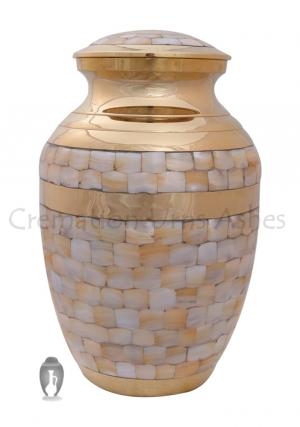 Mother of Pearl Memorial large Gold Urn, Cremation Ashes funeral urn