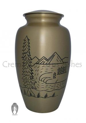 Mountain Scene Brass Adult Funeral Urn for Ashes