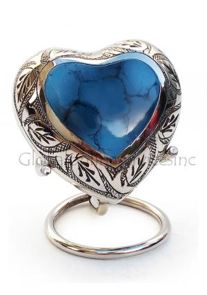 Mystic Blue Small Heart Keepsake Urn for Human Ashes