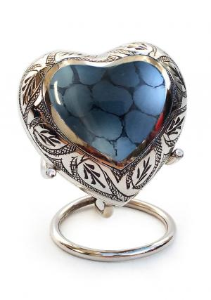 Mystic Blue Small Heart Keepsake Urn for Human Ashes (Blue)