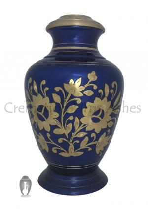 Navy Blue Glower Engraved Adult Urn for Funeral Ashes