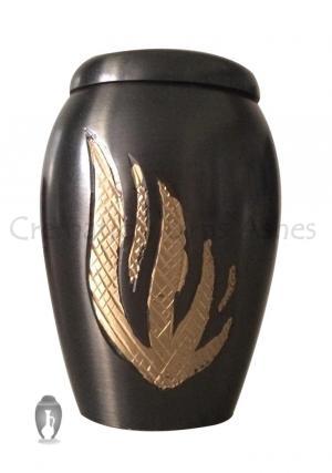 Newbury Golden Flame Mini Brass Keepsake Urn for Human Memorial Ashes