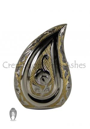 Nickel Engraved Gold Design Teardrop Mini Urn For Memorial Ashes