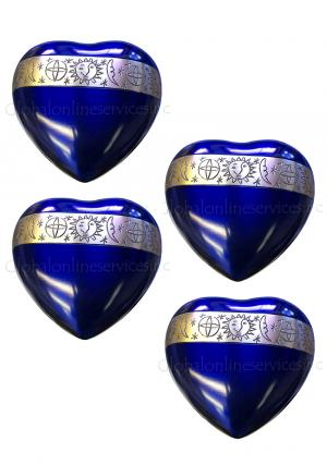 Pack Of Four Cambridge Blue Cremation Mini Heart Keepsake Urn for Ashes