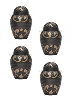 Pack Of Four Dome Top Windsor Black Floral Keepsake Small Cremation Urn for Human Ashes
