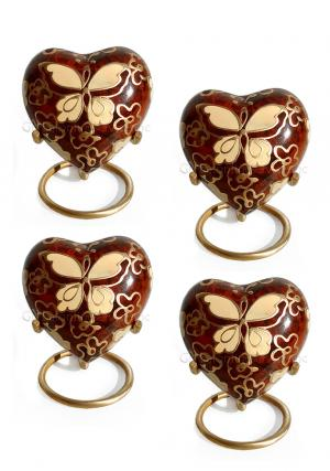 Pack Of Four Golden Butterfly Small Heart Keepsake Funeral Urn